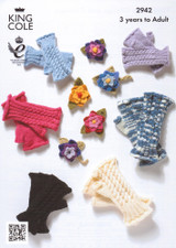 Cabled Fingerless Gloves and Corsage Pattern | King Cole 2942