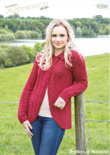 Knitted Cabled Swing Jacket Aran Pattern | Twilleys Alfresco Aran | 9206