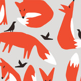 Wildlife | Ophelia Pang | Cloud9 Fabrics | Foxes in Canvas