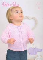 DK Pattern for Childrens' / Babys' V neck and Round neck Cardigan - Peter Pan DK 1213
