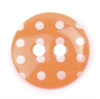 Spotty Buttons 15 mm | Orange & White