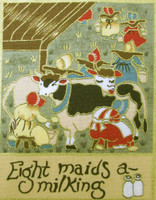 The 12 Days of Christmas fabric | Nutex | 87800 101 Metallic - 8 Maids A Milking