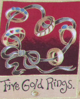 The 12 Days of Christmas fabric | Nutex | 87800 101 Metallic - 5 Gold Rings