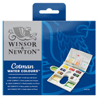 Winsor & Newton Cotman The Compact Set | 14 Half Pans, Brush and Palette