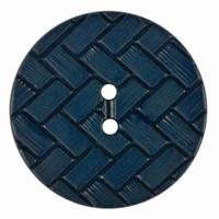 Classic Woven Effect Dark Blue Button | 2 Holes | 23mm Diameter | Dill Buttons