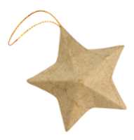 Kraft Stars with Hanging String | 15pcs | Decopatch