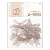 Mixed Large Ribbon Bows | 12pcs | Papermania Capsule Collection | Oyster Blush