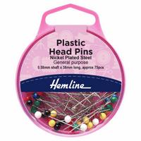 Nickel Plated, Plastic Headed Pins | 0.58 x 38mm | Approx 75pcs | Hemline