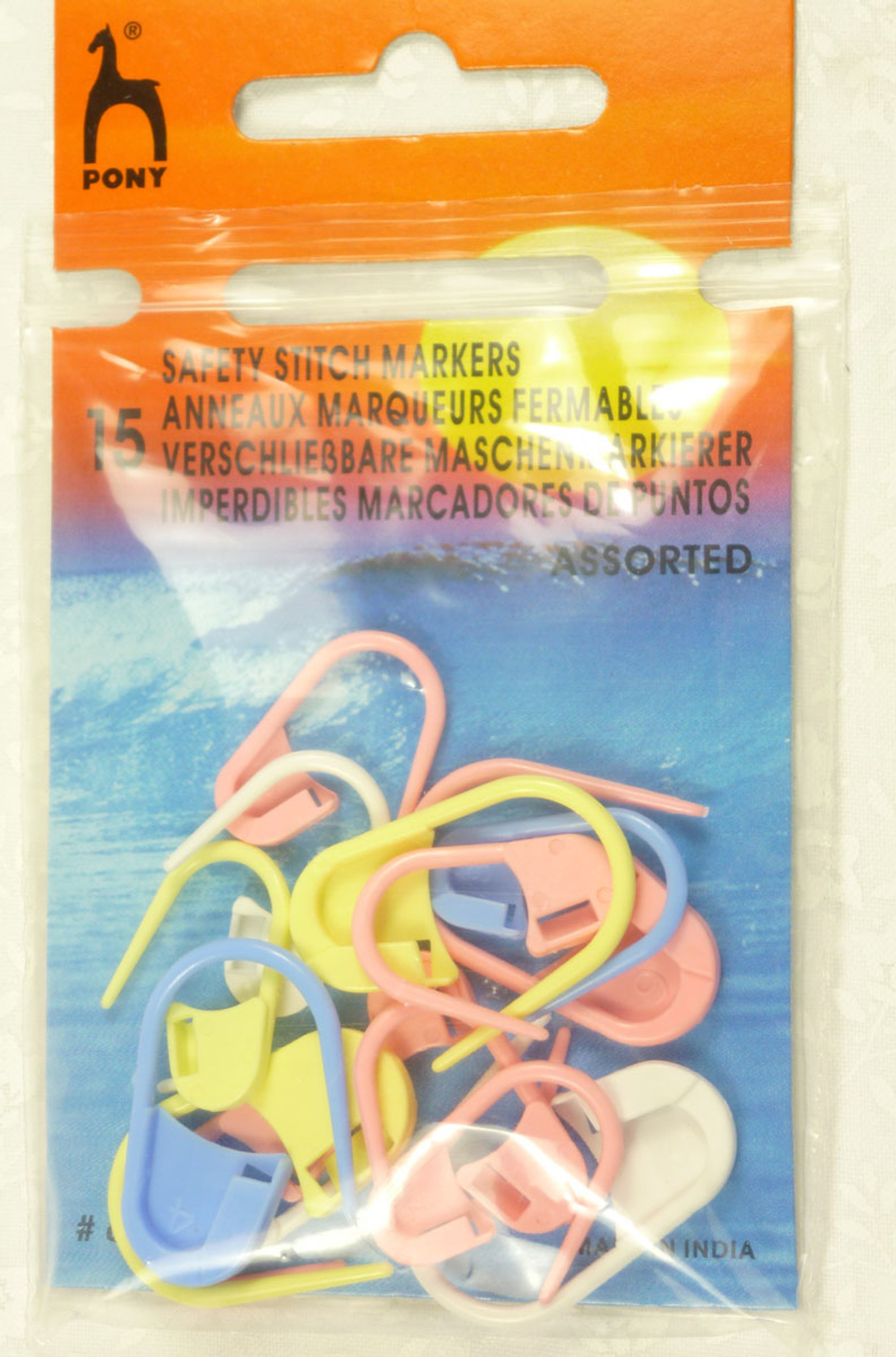 Pony Knitting Safety Locking Stitch Markers Assorted Colours /& Sizes Pack Of 15