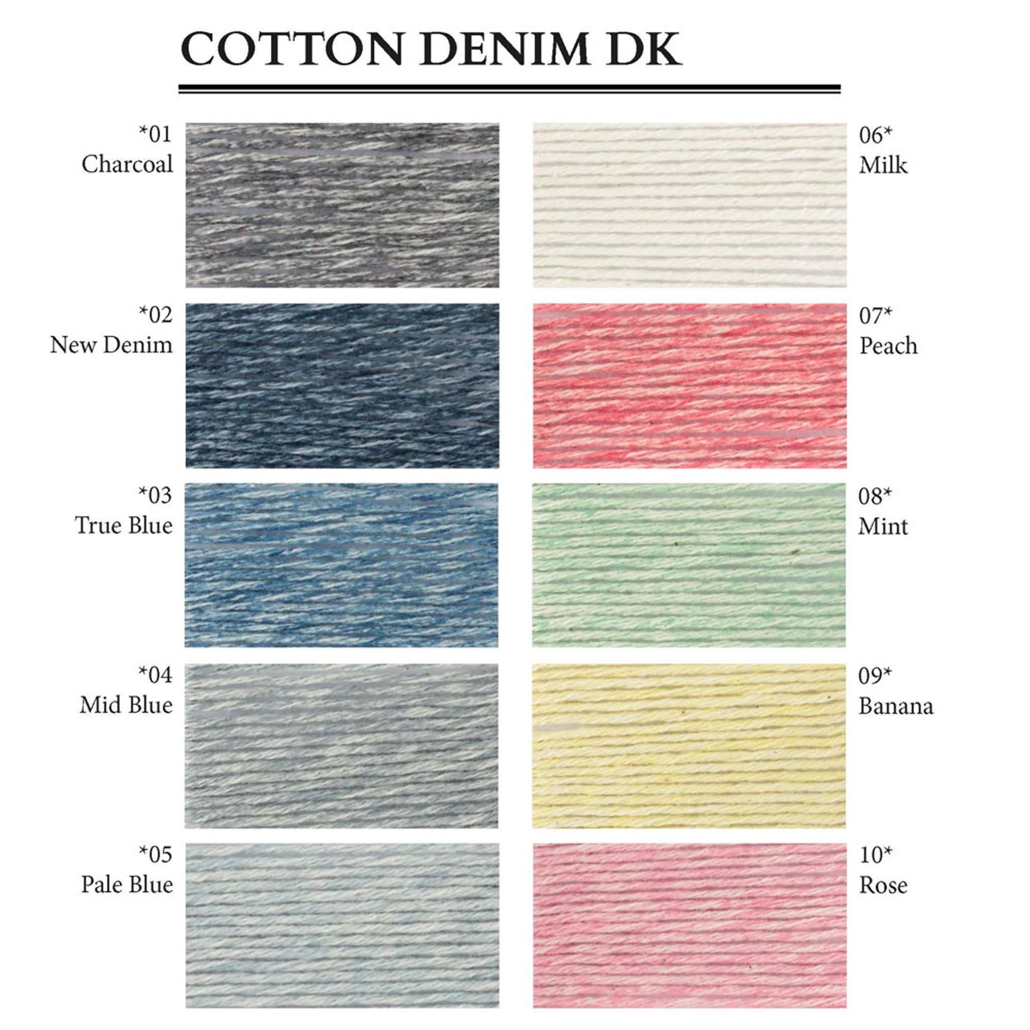 100g 100/% Cotton Debbie Bliss Cotton Denim DK