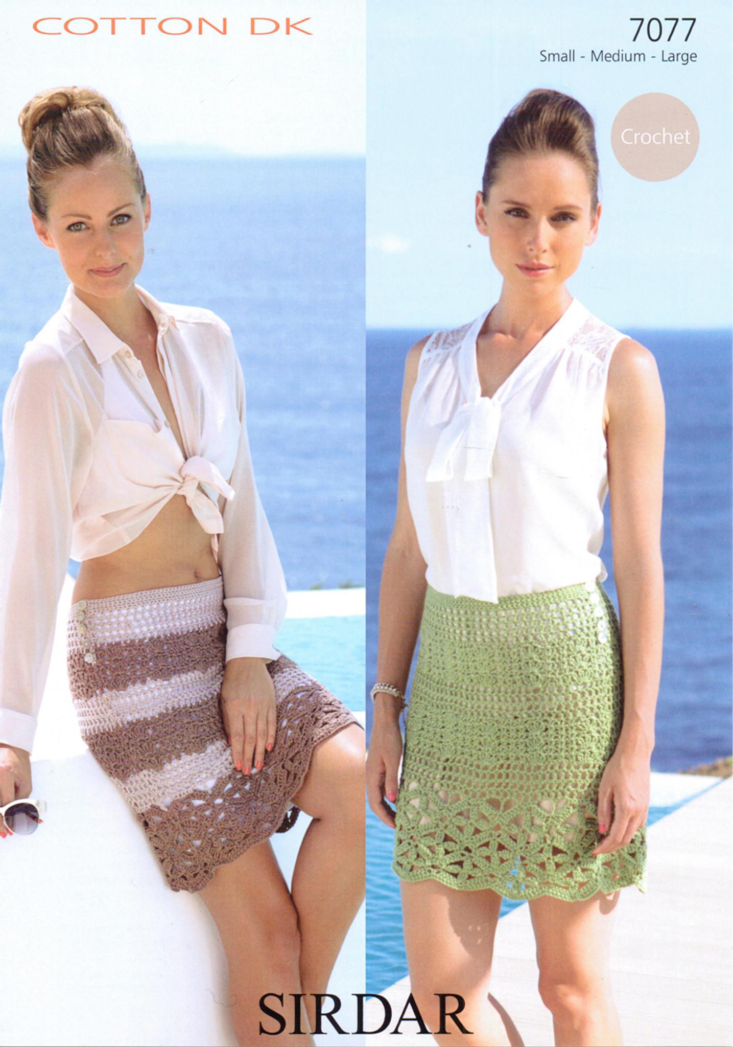 Sirdar Cotton DK Pattern No 7077 Crochet Skirt