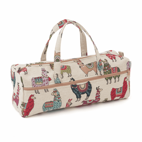 Multi-coloured Jaquard Llama Knitting / Crochet Storage Bag - Main Image