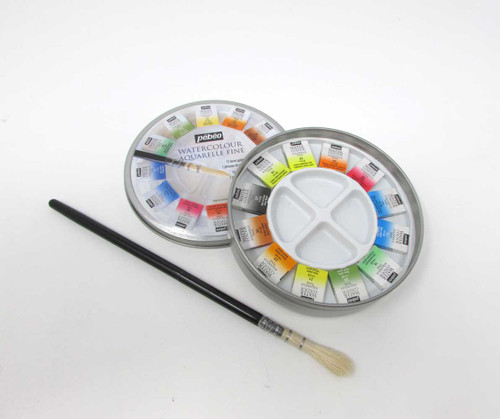 Pebeo Fine Aquarelle Watercolour Set | 12 half Pans in Tin - w/ brush