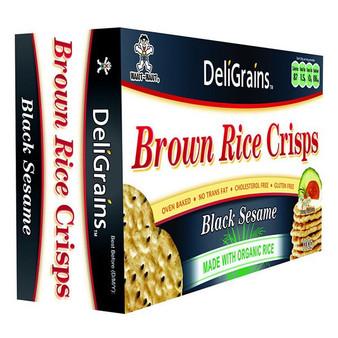 DeliGrains Organic Brown Rice Crisps Black Sesame 100g