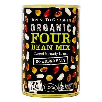 Four Bean Mix Organic 400g BPA Free Cooked