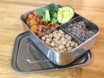 Lunch Box Stainless Steel Rect Removable Dividers Green Essentials
