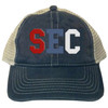 The SEC cap shown in this section is used for applique letter / number / color illustration only. Caps ordered from this section are solid Comfort Colors Caps, and are not mesh back trucker caps as shown. Trucker caps can be ordered using the other selection shown on the Create A Cap page.