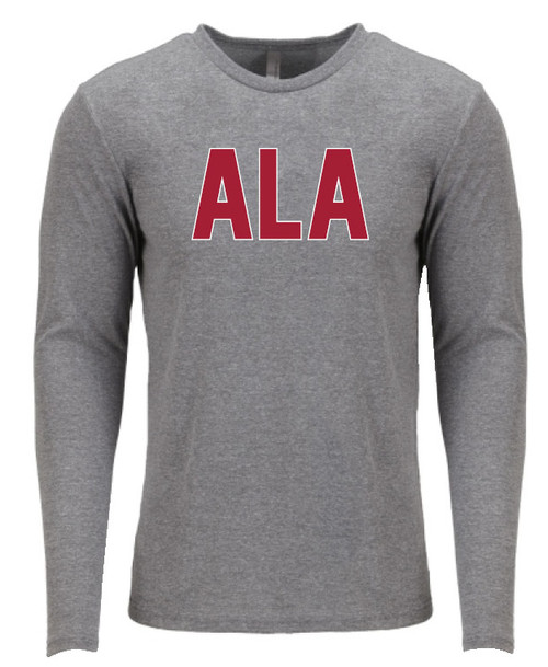 Unisex Long Sleeve Crew Next Level Tee . Tri-Blend Jersey, 4.3 oz . 50% poly 25% combed ring-spun cotton 25% rayon