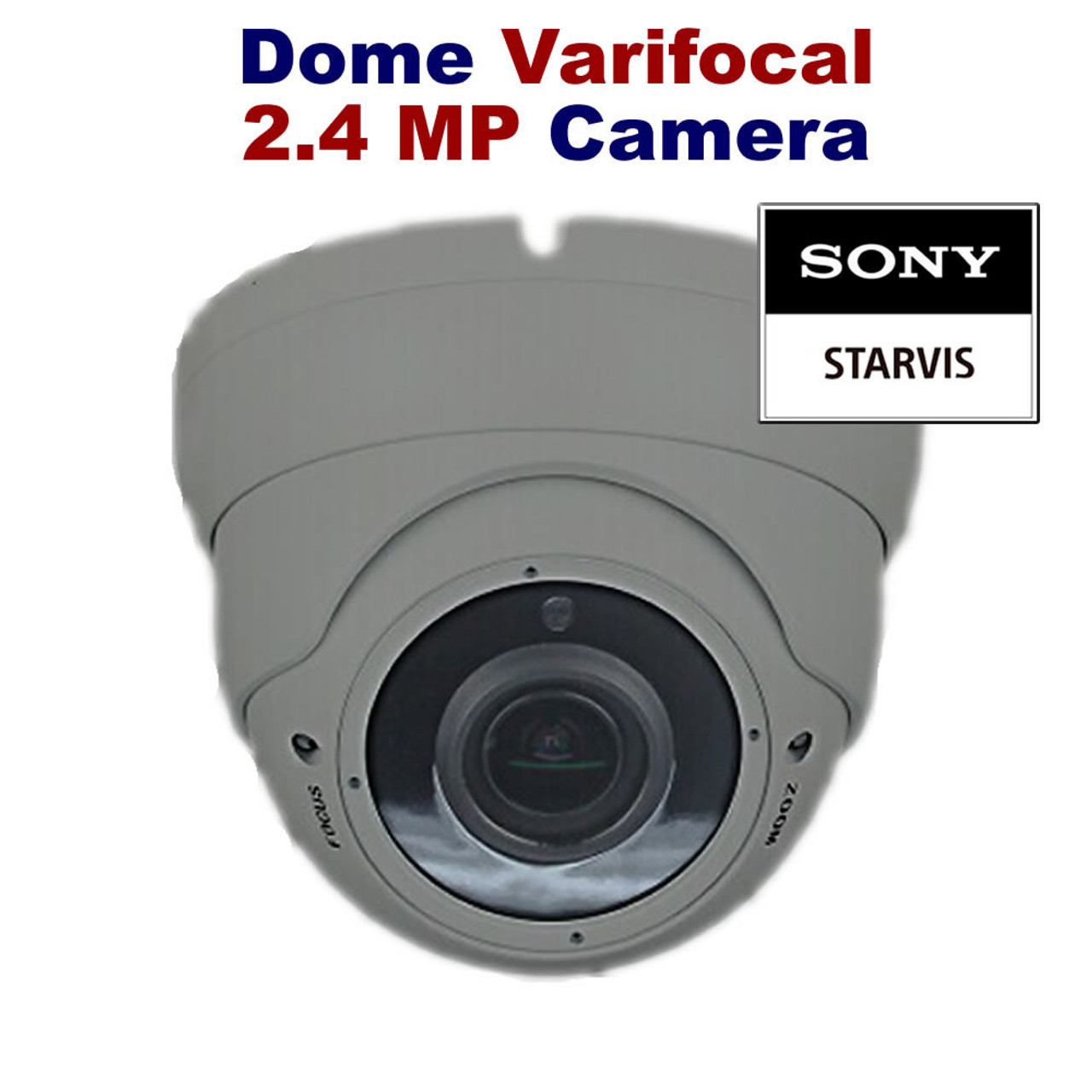 All in One HD 2.4MP 2.8-12mm Lens Varifocal Manual Zoom Outdoor IR Dome Camera