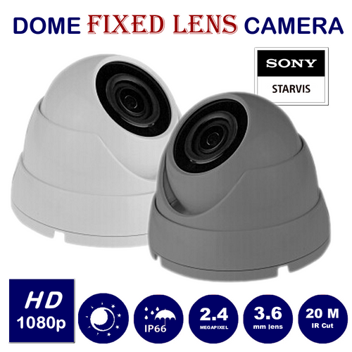 Wide Angle 2.4MP CCTV Dome Camera 1080p Sony Starvis Fixed Lens Night Vision for HD TVI CVI AHD Analogue DVR Outdoor