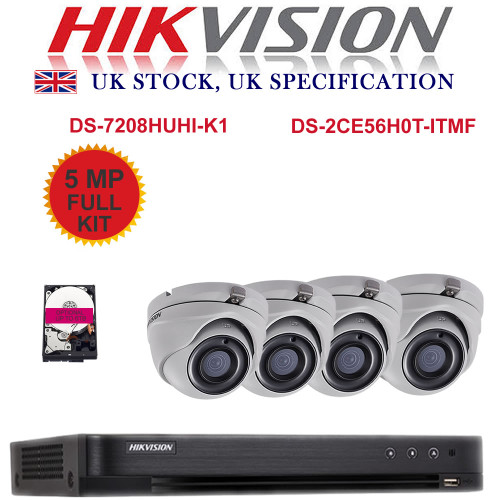 KIT: 8 Channel HIKVISION DS-7208HUHI-K1 DVR Recorder 5MP HD TVI & 4x HIKVISION DS-2CE56H0T-ITMF Dome Camera CCTV