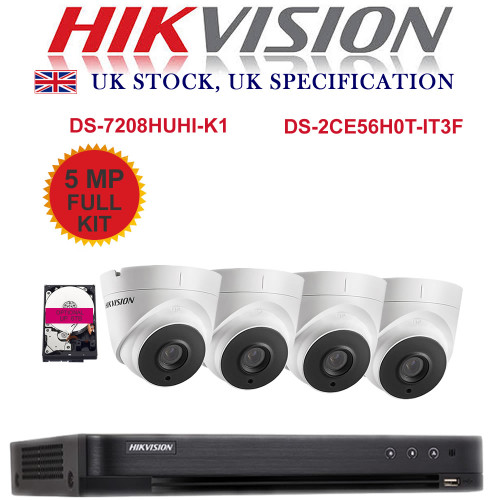 KIT: 8 Channel HIKVISION DS-7208HUHI-K1 DVR Recorder 5MP HD TVI & 4x HIKVISION DS-2CE56H0T-IT3F Dome Camera CCTV