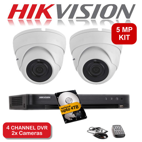 KIT: 5MP 4 Channel HIKVISION DS-7204HUHI-K1 DVR Recorder & 2x 5 MP Fixed lens Sony ViperPro Dome Camera 5MP 20M Night Vision HYBRID CCTV