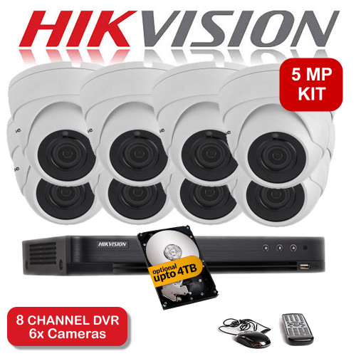 KIT: 5MP 8 Channel HIKVISION DS-7208HUHI-K1 DVR Recorder & 8x 5MP Viper Pro Sony Starvis Dome Camera 20M Night Vision HYBRID CCTV (White)
