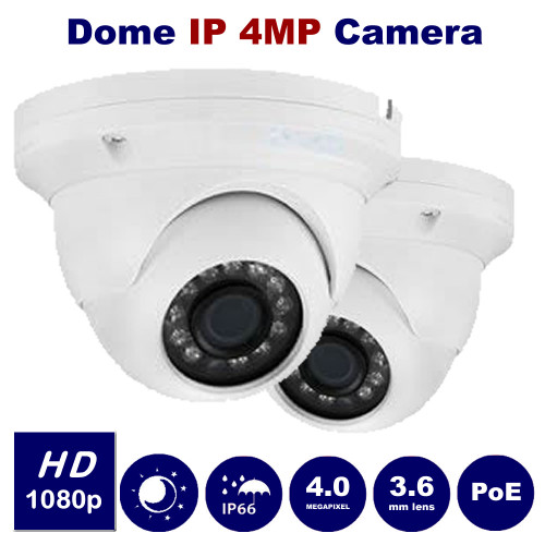 4MP IP Eyeball Dome Camera Fixed lens IR Range 30M HD In/Out door (White)