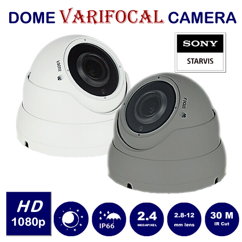 Varifocal  2.8-12mm lens MANUAL ADJUST 2.4MP SONY STARVIS chip CCTV Dome Camera  1080P  for TVI, AHD, CVI, Analogue In/Out door