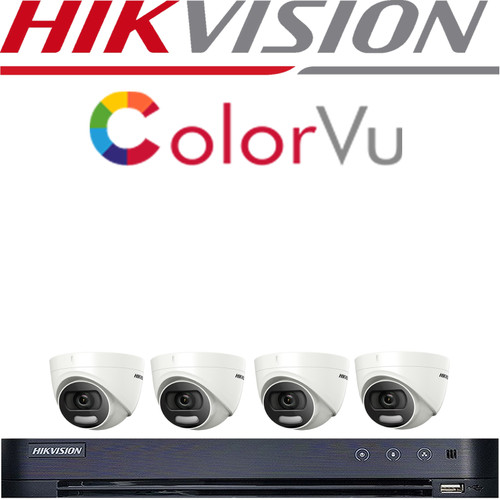 HIKVISION 5MP CCTV SYSTEM DVR DS-7204HUHI-K1 & 4X HIKVISION COLORVU 5MP DS-2CE72HFT-F28 2K TURRET CAMERA
