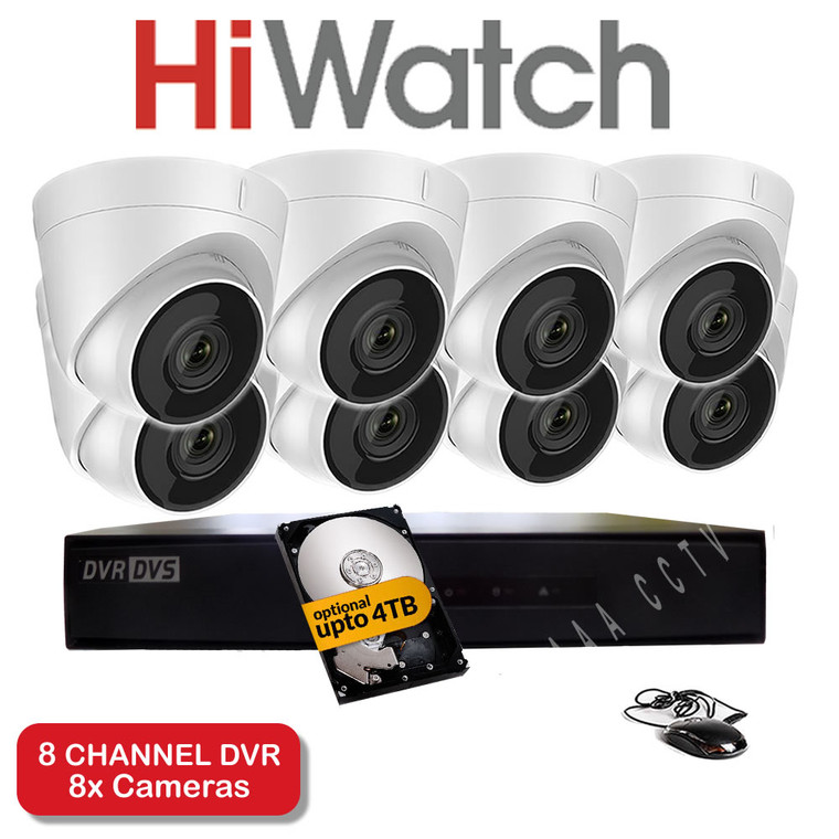 HiWatch 208G-F1 8 Channel DVR Recorder & 8x HiWatch THC-T220 Dome Cameras