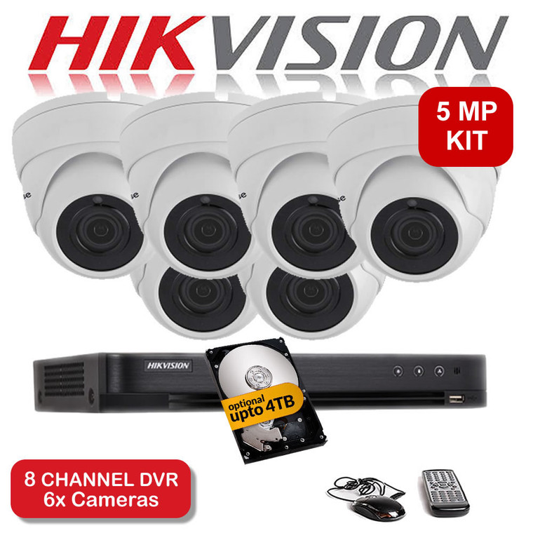 KIT: 5MP 8 Channel HIKVISION DS-7208HUHI-K1 DVR Recorder & 6x 5 MP Fixed lens Sony ViperPro Dome Camera 5MP 20M Night Vision HYBRID CCTV