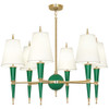 Shown in Modern Brass Accents Emerald Lacquered Paint with Fondine Fabric s Shade