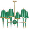 Shown in Modern Brass Accents Emerald Lacquered Paint with Emerald Opaque Parchment With Matte Gold