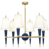 Shown in Modern Brass Accents Navy Lacquered Paint with Fondine Fabric s Shade