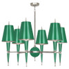 Shown in Polished Nickel Accents Emerald Lacquered Paint with Emerald Painted Opaque Parchment With