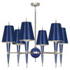 Shown in Polished Nickel Accents Navy Lacquered Paint with Navy Painted Opaque Parchment With Matte