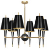 Shown in Modern Brass Accents Black Lacquered Paint with Black Opaque Parchment With Matte Gold Lini