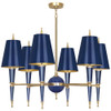 Shown in Modern Brass Accents Navy Lacquered Paint with Navy Opaque Parchment With Matte Gold Linin