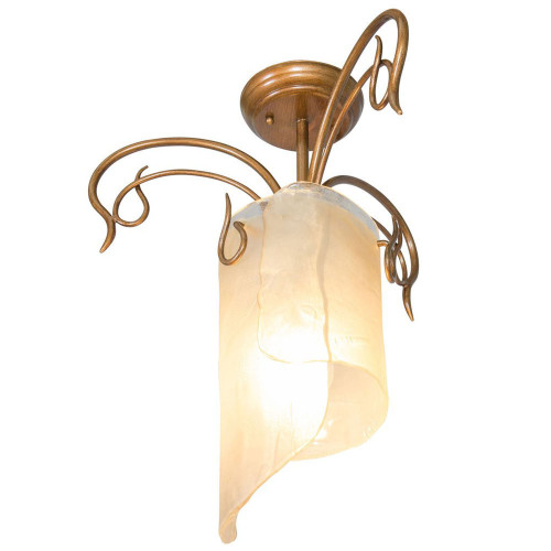 Shown in Hammered Ore with Recycled Brown Tint Ice Glass Shade