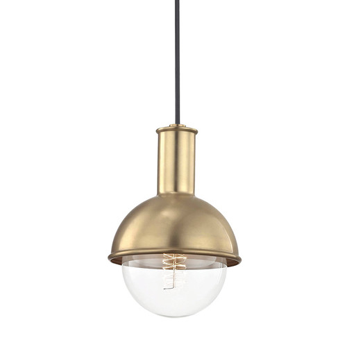Shown in Aged Brass with Clear Shade