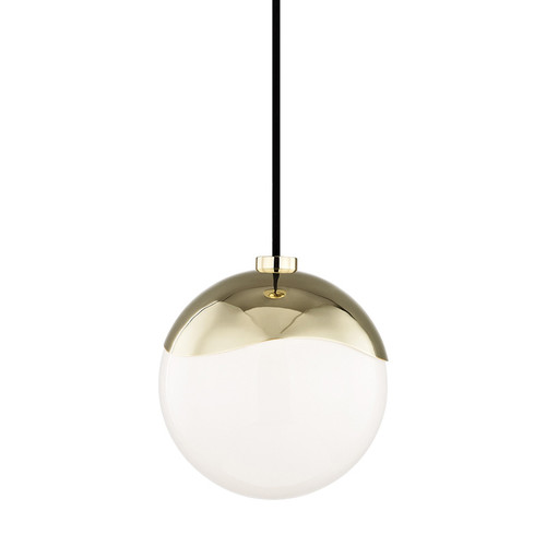 Shown in Small Polished Brass with White Shade