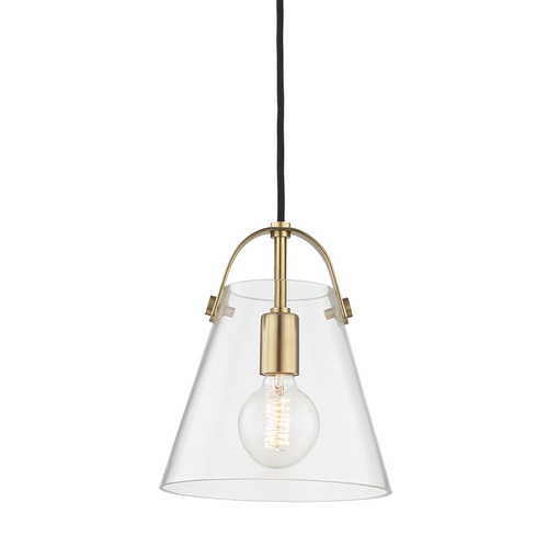 Shown in Small Aged Brass with Clear Shade