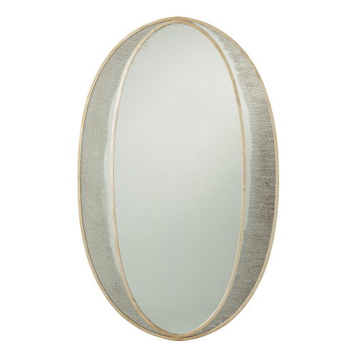 Shown in Champagne Leafed Iron/Plain Mirror/Antiqued Mirror Border