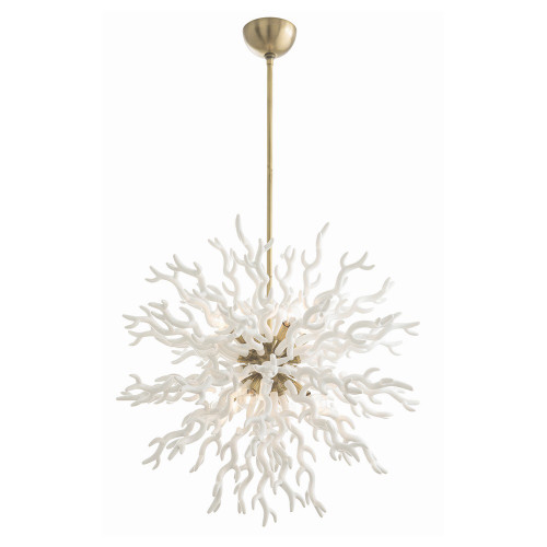 Shown in White Lacquered Resin/Antique Brass
