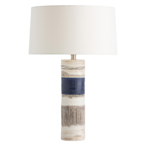Shown in Blue/Distressed Natural Porcelain with Ivory Microfiber Shade/Matching Lining Shade