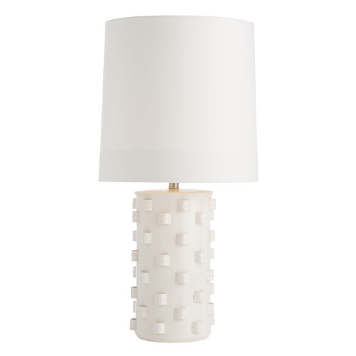 Shown in Ivory Crackle Porcelain with Ivory Microfiber Shade/ Matching Lining Shade