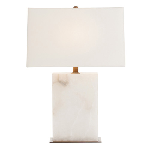 Shown in Snow Marble/Vintage Brass with Ivory Microfiber Shade/Lining to Match Shade