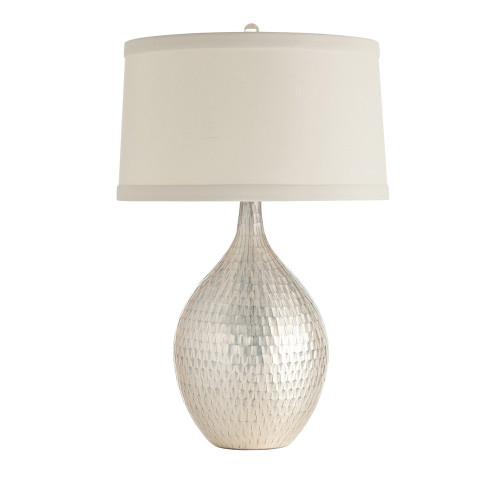 Shown in Distressed Silver Glass with Ivory Microfiber Shade/Lining to Match Shade